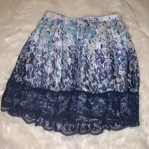 FUN AND FLIRTY NAVY FLORAL WITH LACE SKIRT!